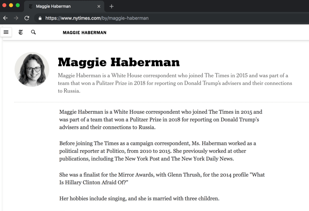 This Just In: Maggie Haberman to give a FREE lecture on April 3